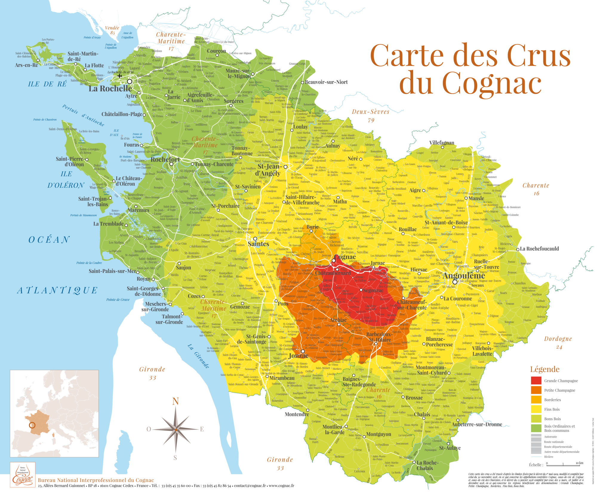 Carte des crus du cognac, grande et petite champagne, borderies, fins bois, bons bois, bois ordinaires