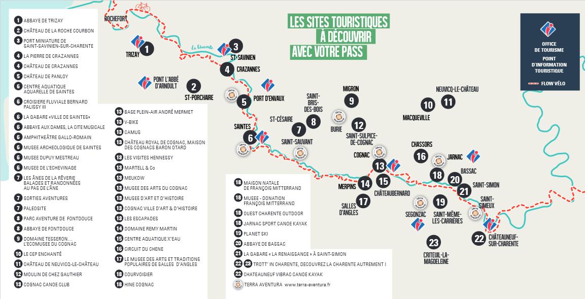 Carte de sites touristiques à découvrir avec le Pass découverte Cognac-Saintes